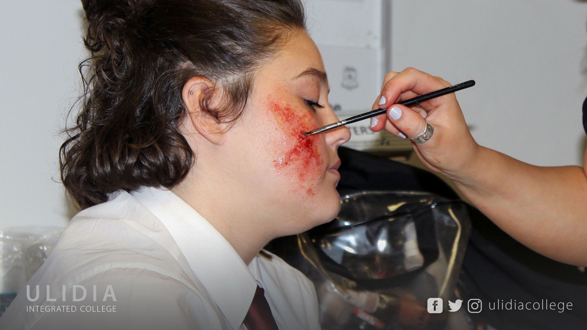 Students then experimented with these techniques, creating their own special effects makeup looks, that they then will go on to use in their film, ...